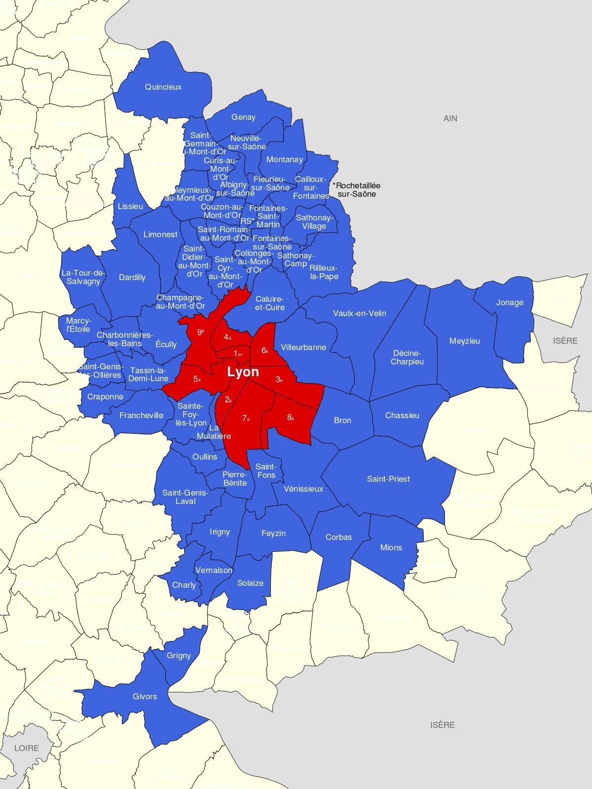 Lyon Karte.Karte Von Lyon Und Umgebung Karte Der Gegend Von Lyon