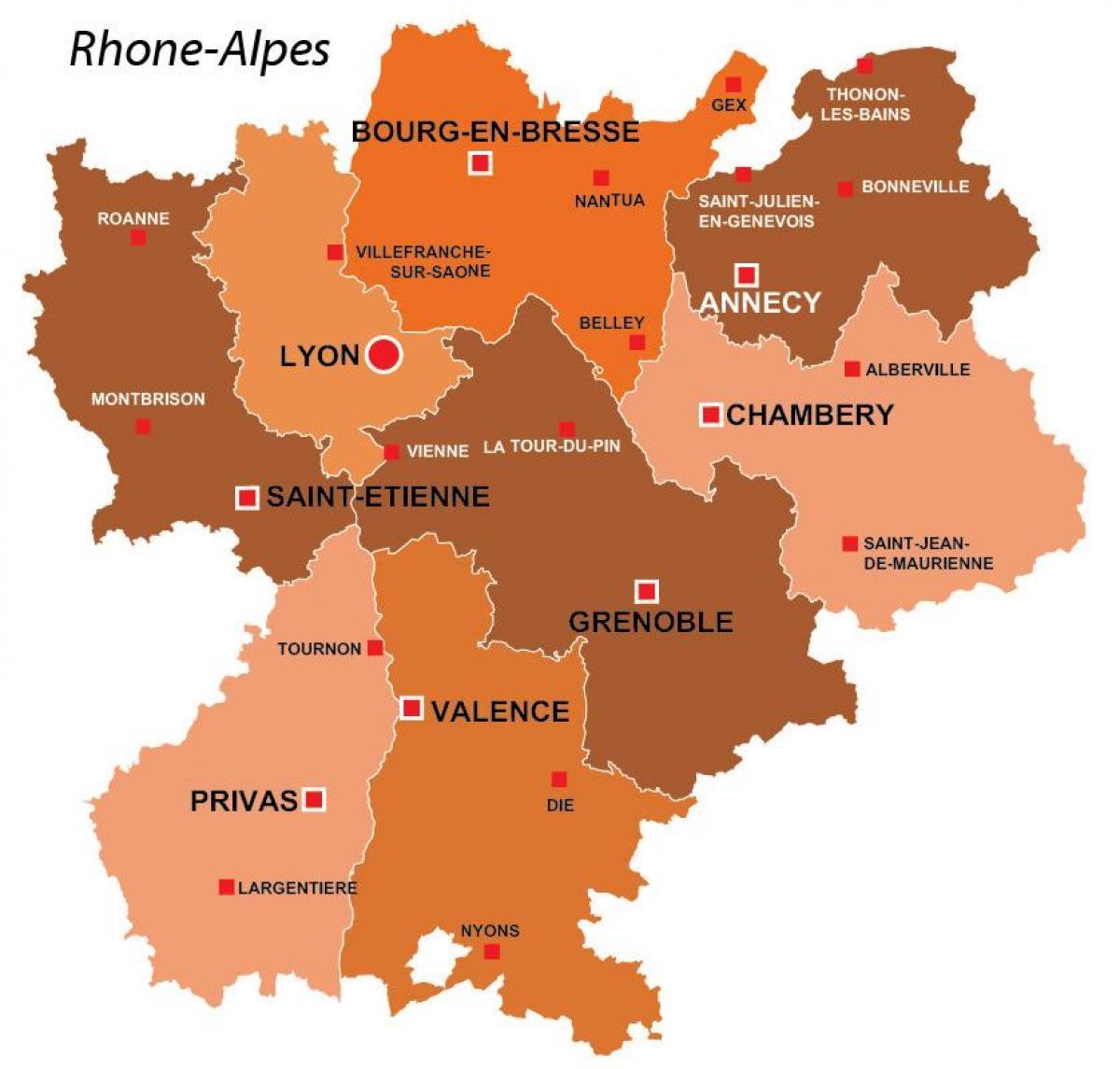 Lyon Karte Der Region Lyon Region Karte Von Frankreich Auvergne